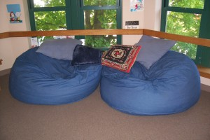 Bean bags in teen area